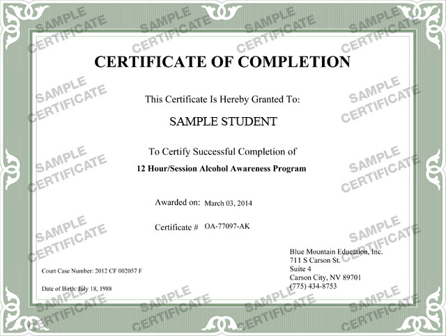 Certificate Of Successful Completion Template  CityEsporaCo